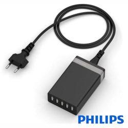 Alimentador Compacto 5 USB 5v 8a Preto Philips - (61965)