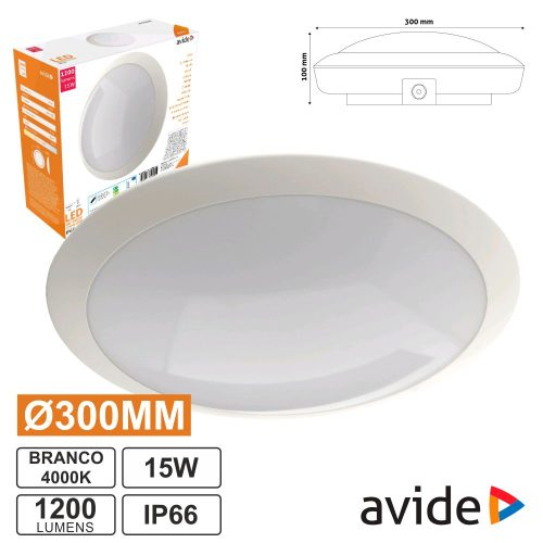 Painel LED Redondo Aplique 15W 300mm 4000k 1200lm Ip66 AVIDE - (ACL30NW-IP66-15W)