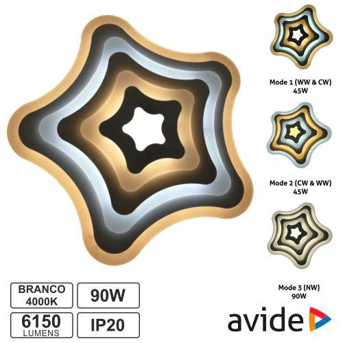 Candeeiro Teto/Parede LED 90W 3000K-4000K-6400K AVIDE - (ADO3S-90W-SHR)