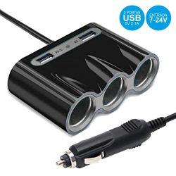 Ficha Adaptadora Isqueiro C/ 3 Saídas E 2 USB 3a - (CAR-RIDER)
