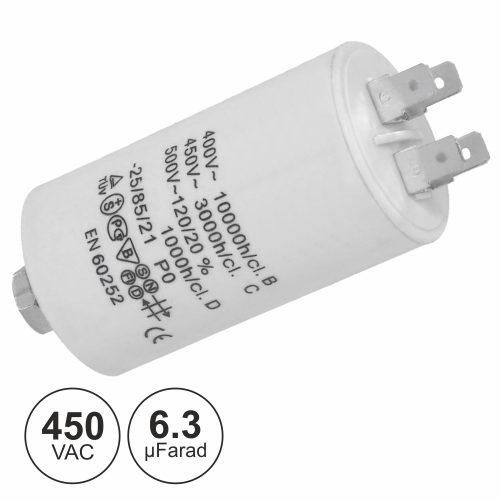 Condensador Arranque 6.3uf 450V + Terra - (COA6.3/450)