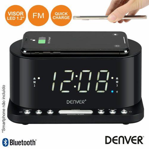 Relógio Despertador FM Qi/USB DENVER - (CRQ-110)