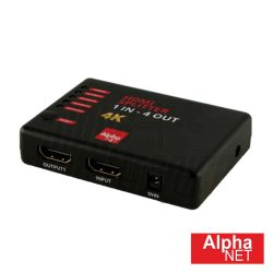 Distribuidor Comutado HDMI 1 Entrada 4 Saídas Alphanet - (CT304/6-1)
