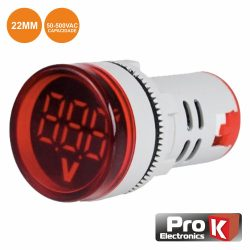 Voltimetro Digital LED Vermelho 50v-500vac 22mm PROK - (DIGIVOL500A)