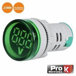 Voltimetro Digital LED Verde 50v-500vac 22mm PROK - (DIGIVOL500B)