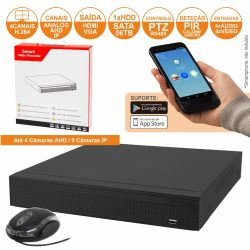 Vídeo-Gravador Digital 4 Canais Analog/Ahd/Ip Ethernet - (DVR04AP)