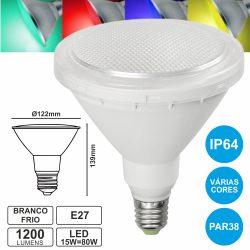 Lâmpada E27 15W=80W 230V LED Par38 Branco Frio Ip64 1200lm - (EL-710)