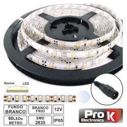 Fita 300 LEDS 2835 Impermeável Branco Frio 12V 5m PROK - (FL43CW)