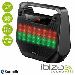 "Coluna Bluetooth Portátil 4"" 20W USB/BT/Bat LED IBIZA - (FREESOUND40-BK)"