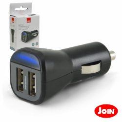 Adaptador Ficha Isqueiro 12V/24V / 2 USB 5v 2.4a JOIN - (KR113)