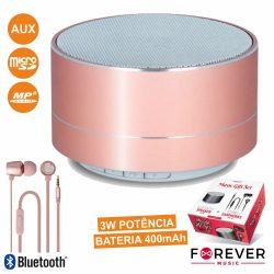Coluna Bluetooth Portátil 3W + Auscultadores Stereo Rosa - (MUSICSET100PK)