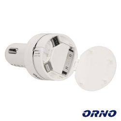 Adaptador Ficha Isqueiro USB-A/MicroUSB/Lightning 8p ORNO - (OR-AE-1390)