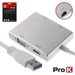 Adaptador USB-A 3.0 / DVI+HDMI+VGA+RJ45 PROK - (PK-USB104)