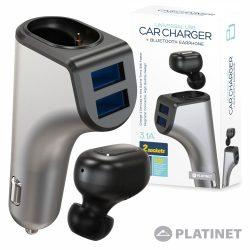Auricular Bluetooth V4.2 Ficha Isqueiro 2USB 3.1A PLATINET - (PLCRBT2)