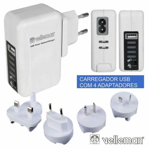 Carregador USB C/ 4 Adaptadores Viagem - (PSSEUSB6A)
