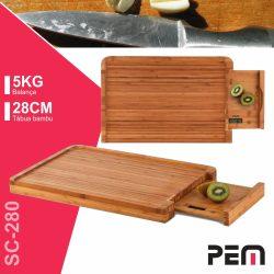 Tábua De Madeira Bambu 28cm C/ Balança Digital 5kg PEM - (SC-280)