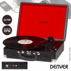 Gira-Discos 33/45/78RPM Vintage 2x1W Preto DENVER - (VPL-120BLACK)